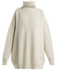 Raey - Displaced-sleeve Ribbed Roll-neck Wool Sweater - Lyst
