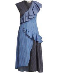 Sea - Striped Ruffle-trimmed Cotton Midi Dress - Lyst