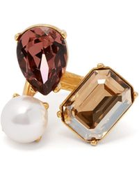 Oscar de la Renta - Crystal And Faux Pearl Ring - Lyst