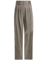 Balmain - Prince Of Wales-checked Virgin-wool Trousers - Lyst