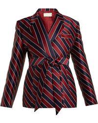 Sara Battaglia - Striped Tie-waist Double-breasted Satin Blazer - Lyst