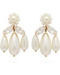 Simone Rocha Crystal And Faux Pearl Drop Earrings - Multicolour
