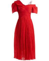 Preen By Thornton Bregazzi - Cyra Off-the-shoulder Silk-chiffon Dress - Lyst