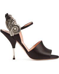 Rochas - Crystal-embellished Satin Sandals - Lyst