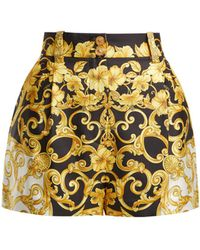 Versace - Printed Silk Twill Shorts - Lyst