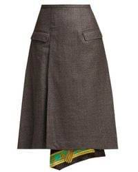Toga - Scarf-lined Wool Skirt - Lyst