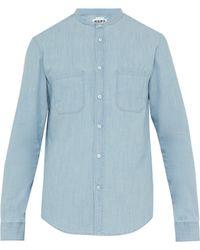 Hope - Rick Band Collar Cotton Chambray Shirt - Lyst