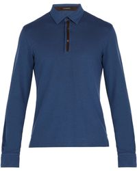 Ermenegildo Zegna - Suede Trimmed Long Sleeve Polo Shirt - Lyst