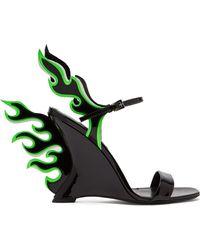 Prada - Flame Patent Leather Sandals - Lyst