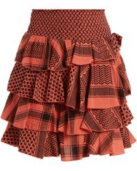 Cecilie Copenhagen - Tiered-ruffle Scarf-jacquard Cotton Mini Skirt - Lyst