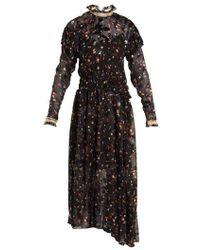 Preen By Thornton Bregazzi - - Olivia Truffle Print Silk Blend Devoré Dress - Womens - Black Multi - Lyst