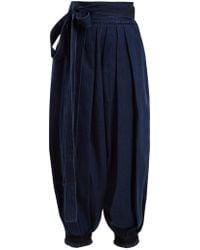JW Anderson - Wide-leg Pleated Tie-cuff Denim Trousers - Lyst