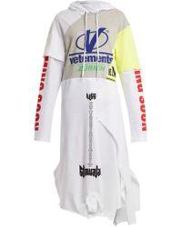 Vetements - Hooded Contrast Panel Cotton Sweatshirt Dress - Lyst