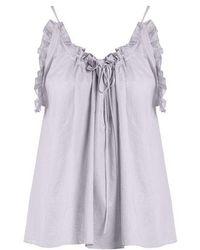Three Graces London - Erissena Ruffle-trimmed Cotton Pyjama Top - Lyst