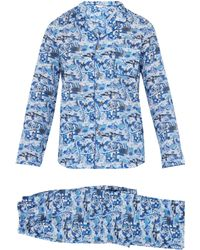 Derek Rose - Modern Fit Pyjamas Ledbury 19 Cotton Batiste Blue - Lyst