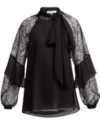 Diane von Furstenberg - Mariela Silk And Lace Pussy Bow Blouse - Lyst