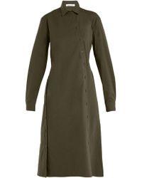 Tomas Maier - Asymmetric-buttoned Poplin Dress - Lyst