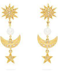 Oscar de la Renta - Moon And Stars Drop Clip-on Earrings - Lyst