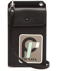 Prada - Logo Patch Saffiano Leather Phoneholder - Lyst