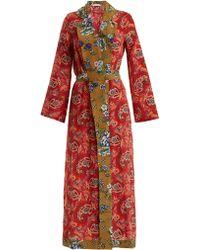 Anjuna - Selene Paisley Print Silk Robe - Lyst