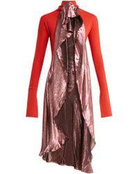 Paula Knorr - Drape Jersey And Silk Blend Lamé Top - Lyst