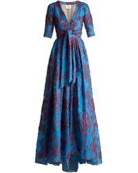 Carolina Herrera - Knotted Floral Devoré Gown - Lyst