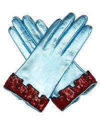 Gucci - - Gants en cuir à poignets à sequins - Lyst