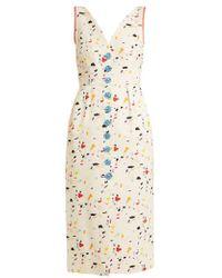 Carolina Herrera - Terazzo-print V-neck Cotton-blend Faille Dress - Lyst