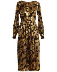 Saloni - Camille Floral-jacquard Lurex Dress - Lyst