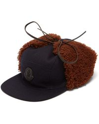 Moncler - Shearling Trimmed Wool Blend Cap - Lyst