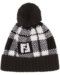 493293d7b90 Lyst - Fendi Knit Ff Logo Beanie in Black for Men