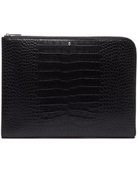 Alexander McQueen - Skull-embellished Crococile-effect Leather Pouch - Lyst