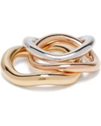 Charlotte Chesnais - Wave Rose Gold & 18kt Gold Plated Stacking Rings - Lyst