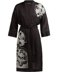 Carine Gilson - Floral Embroidered Silk Satin Robe - Lyst