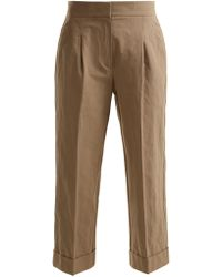 Brunello Cucinelli - Straight Leg Cropped Cotton Blend Chino Trousers - Lyst