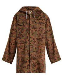 MYAR - - Oversized Camouflage Print Cotton Hooded Jacket - Womens - Khaki Multi - Lyst