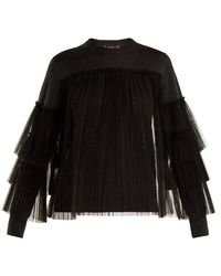 MUVEIL - Pleated Tulle-embellished Wool Jumper - Lyst