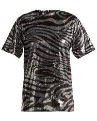 Halpern - Zebra-patterned Sequinned T-shirt - Lyst