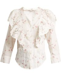 Sea | Alouette Ruffled Floral-print Cotton Top | Lyst