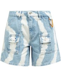 Ganni - Tie-dye Denim Shorts - Lyst