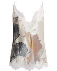 Carine Gilson - Lace-trimmed Silk-satin Camisole - Lyst