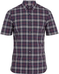 Burberry - Point-collar Short-sleeved Checked Cotton Shirt - Lyst