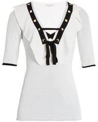 Sonia Rykiel - Ruffle-trimmed V-neck Top - Lyst