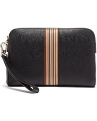 Paul Smith Signature Stripe Grained Leather Pouch Bag