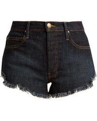 The Great - The Cut Off Raw-hem Denim Shorts - Lyst