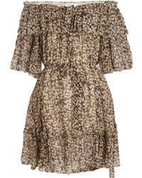 Zimmermann - Prima Cherry Off-the-shoulder Silk-georgette Dress - Lyst