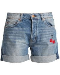 Bliss and Mischief   Cherry-embroidered Denim Shorts   Lyst