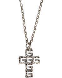 Gucci - G Cross Sterling Silver Necklace - Lyst