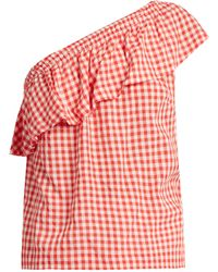 Velvet By Graham & Spencer - Haley One-shoulder Gingham Top - Lyst