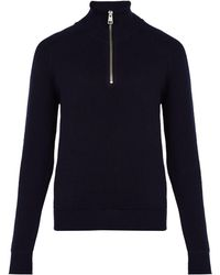 AMI - Half Zip Wool Sweater - Lyst